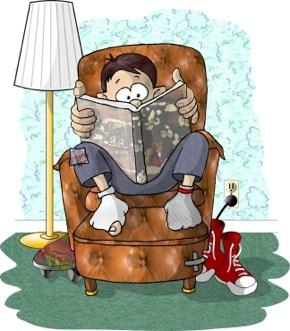 Boy reading life coaching book