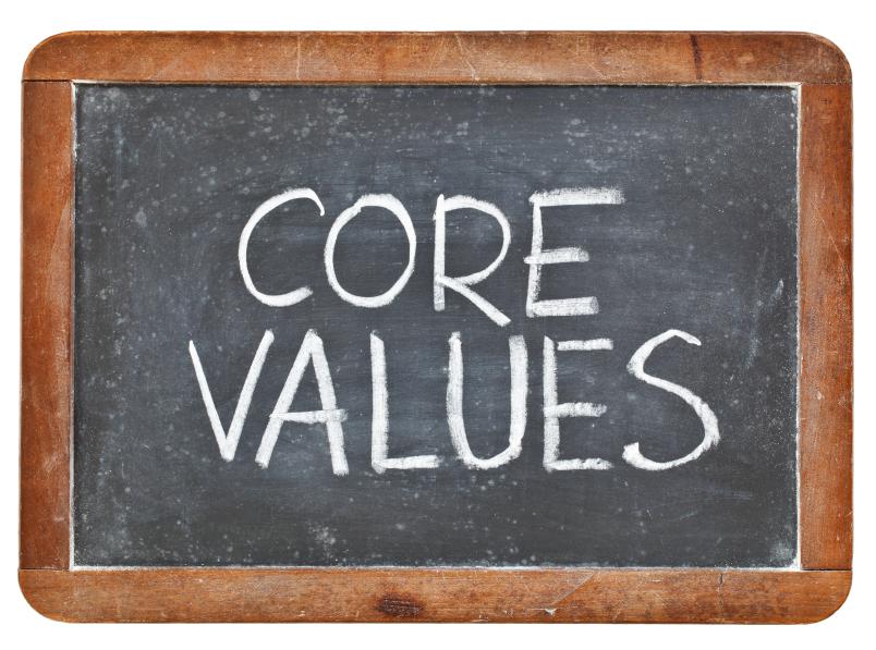 core values phrase - white chalk handwriting on a vintage slate blackboard, isolated